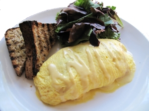 MMMM... Trout Omelette, Fresh Greens and Tasty toast